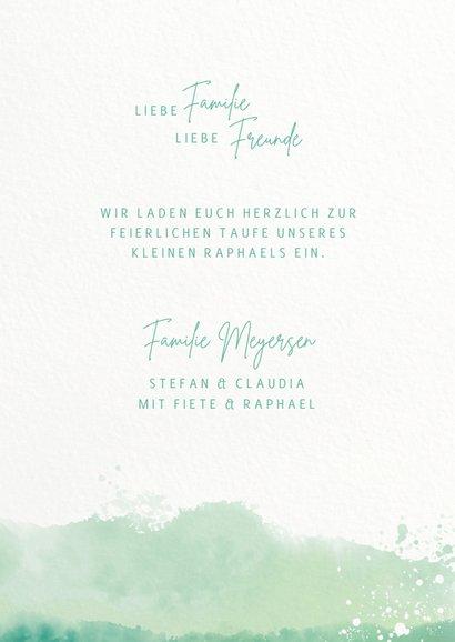 Einladung zur Taufe mit Initialen & Wasserfarbe 3