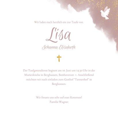 Einladung zur Taufe rosa Aquarell mit Foto und Tauben 3