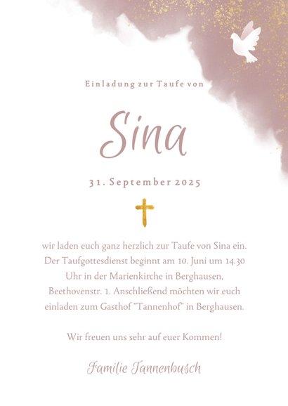 Einladung zur Taufe rosa Aquarell mit Taube und Kreuz 3