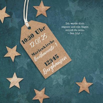 Einladung zur Taufe Sterne im Holzlook und Foto 2