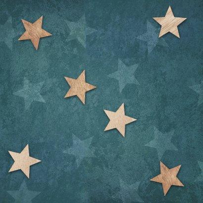 Einladung zur Taufe Sterne im Holzlook und Foto Rückseite