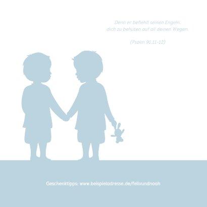 Einladung zur Taufe Zwilling Jungen Silhouette 2