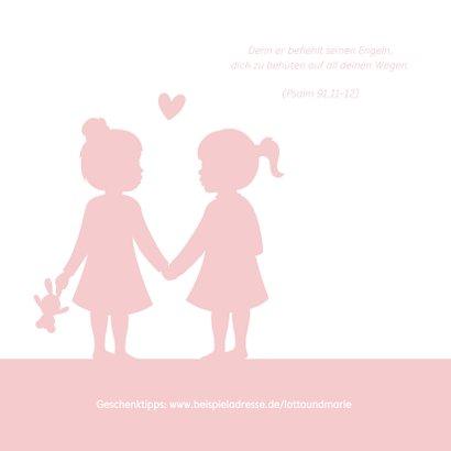 Einladung zur Taufe Zwilling Mädchen Silhouette 2