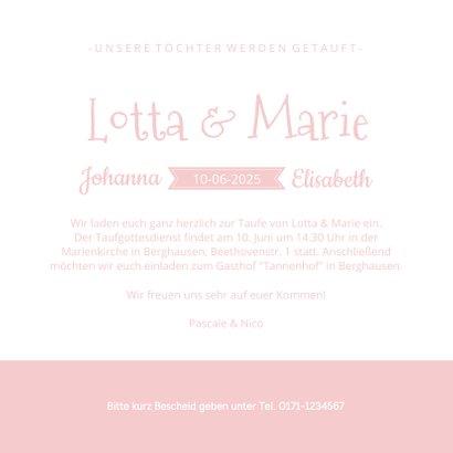 Einladung zur Taufe Zwilling Mädchen Silhouette 3