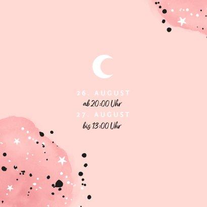 Einladung zur Übernachtungsparty Mädchen Mond und Sterne 2