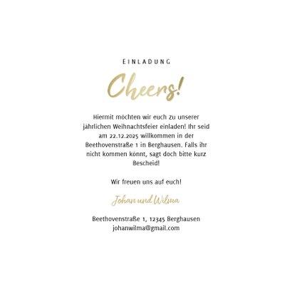 Einladung zur Weihnachtsfeier Cheers mit Weingläsern 3