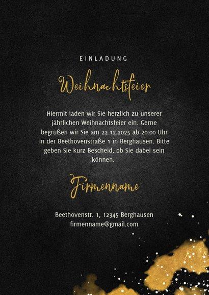 Einladung zur Weihnachtsfeier Weingläser und Goldeffekte 3