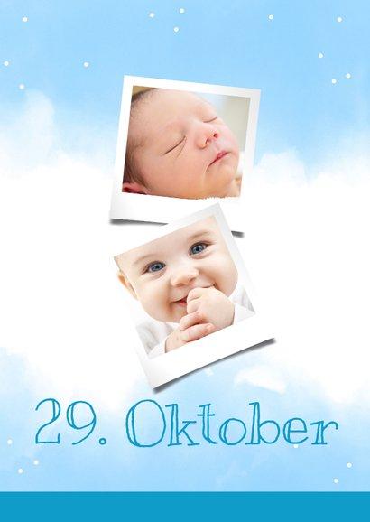 Einladungskarte 1. Geburtstag blaue Wasserfarbe mit Fotos 2