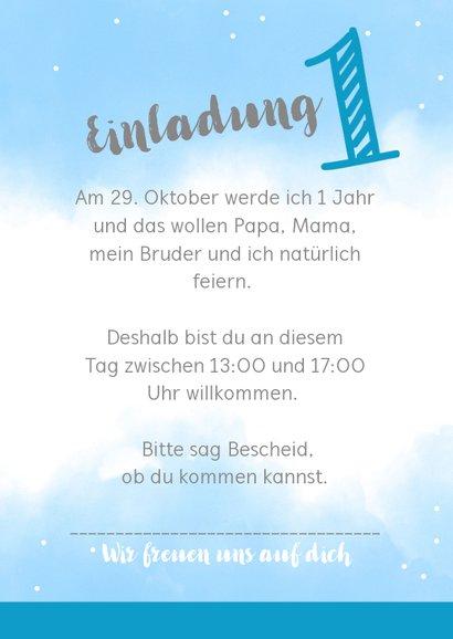 Einladungskarte 1. Geburtstag blaue Wasserfarbe mit Fotos 3