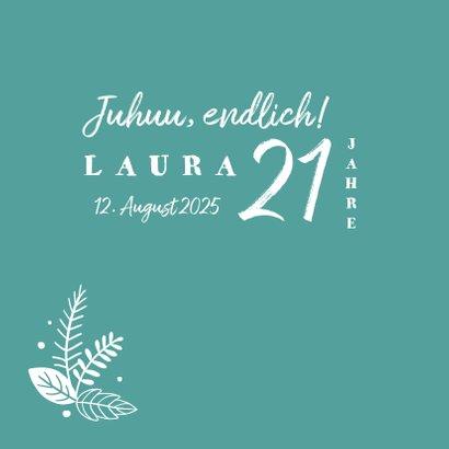 Einladungskarte 21. Geburtstag Blätter Kranz 2
