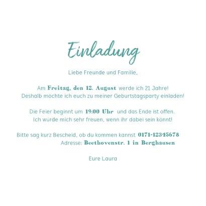 Einladungskarte 21. Geburtstag Blätter Kranz 3