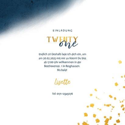 Einladungskarte 21. Geburtstag blau und 'twenty one' 3