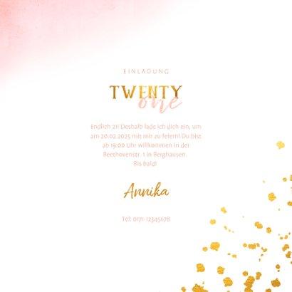 Einladungskarte 21. Geburtstag mit Goldeffekten 3