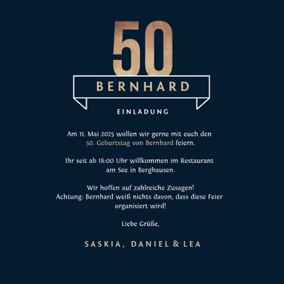 Einladungskarte 50. Geburtstag 'Cheers & Beers' 3