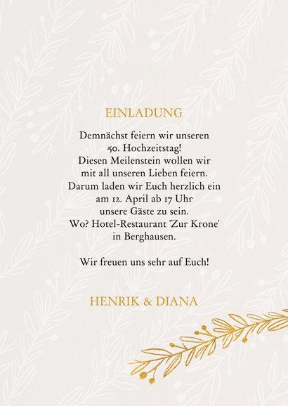 Einladungskarte 50. Hochzeitstag Zweige 3