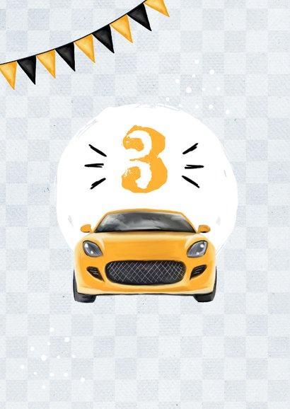 Einladungskarte drei Autos schwarz-gelb 2