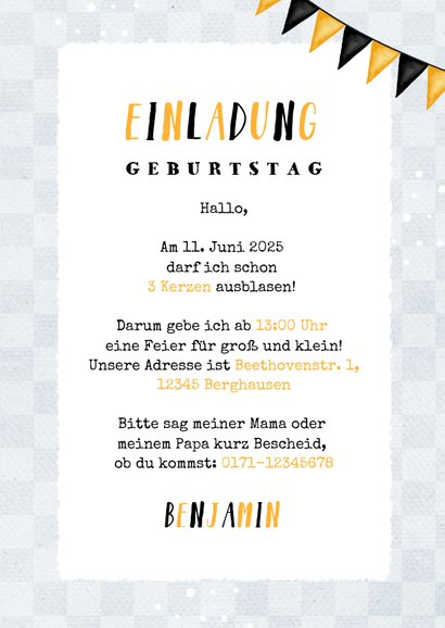 Einladungskarte drei Autos schwarz-gelb 3