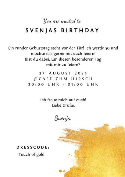 Einladungskarte 'Fifty' mit Goldeffekten 3