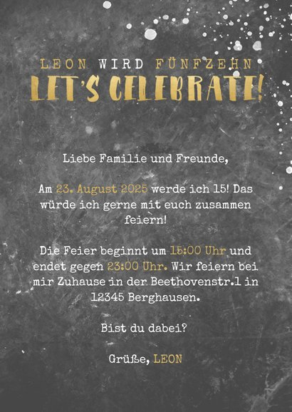 Einladungskarte Geburtstag Betonwand mit Foto 3