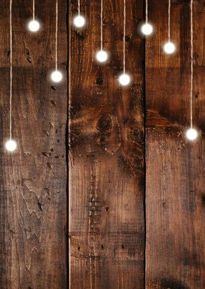 Einladungskarte Geburtstag mit Fotos, Holz und Lämpchen Rückseite