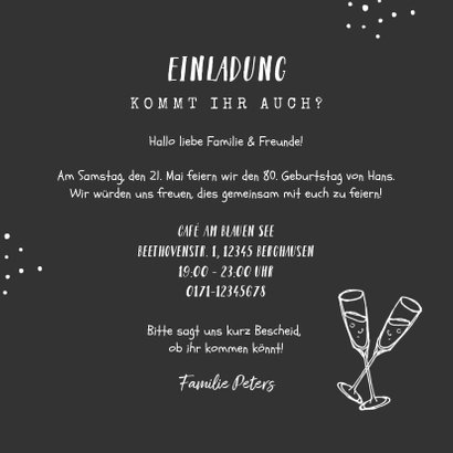 Einladungskarte Geburtstag schwarz-weiß mit Fotos 3