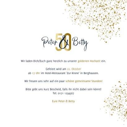 Einladungskarte Goldene Hochzeit 50 Gold 3