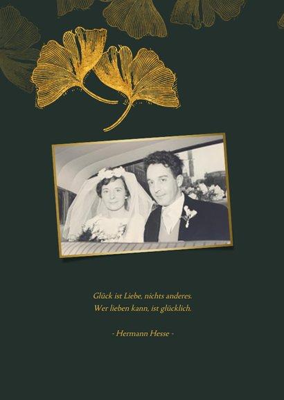 Einladungskarte Goldene Hochzeit Ginkgoblätter 2