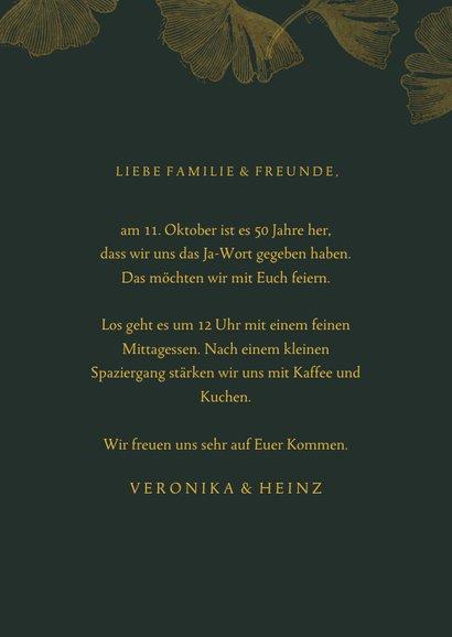 Einladungskarte Goldene Hochzeit Ginkgoblätter 3