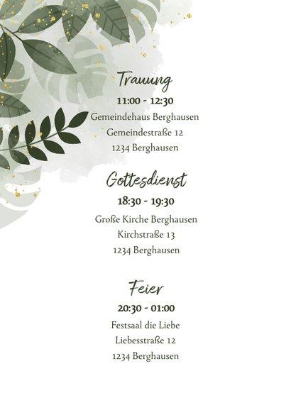 Einladungskarte Hochzeit botanisch Wasserfarbe und Blätter 2