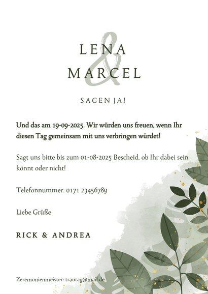 Einladungskarte Hochzeit botanisch Wasserfarbe und Blätter 3