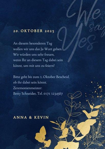 Einladungskarte Hochzeit Eukalyptus Goldlook 3
