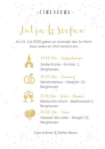 Einladungskarte Hochzeit Fotocollage, Konfetti und Timeline 3