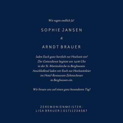 Einladungskarte Hochzeit Goldene Schrift 3
