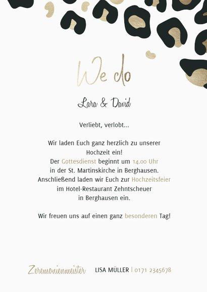 Einladungskarte Hochzeit Leopardenmuster Foto innen 3