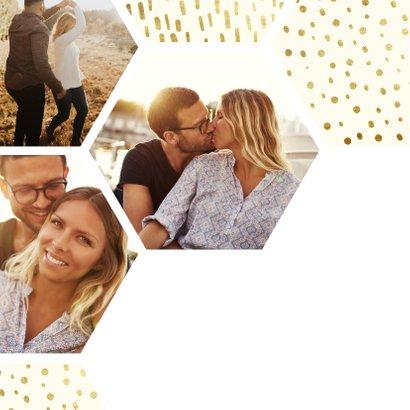 Einladungskarte Hochzeit mit einer Fotocollage im Goldlook 2