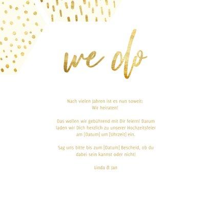 Einladungskarte Hochzeit mit einer Fotocollage im Goldlook 3
