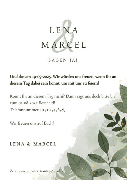 Einladungskarte Hochzeit mit Foto botanisch mit Wasserfarbe 3