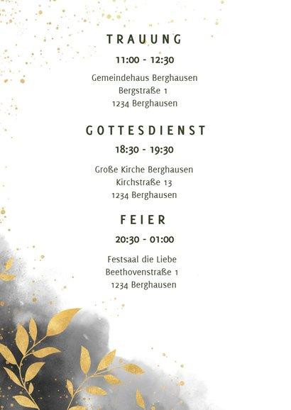 Einladungskarte Hochzeit mit Foto, Wasserfarben und Zweigen 2