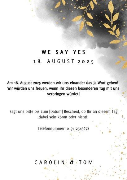 Einladungskarte Hochzeit mit Foto, Wasserfarben und Zweigen 3