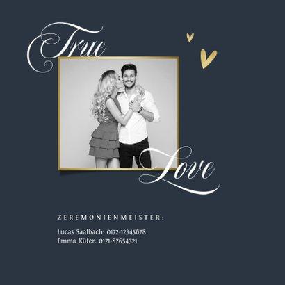 Einladungskarte Hochzeit Schreibschrift und Foto 2