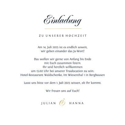 Einladungskarte Hochzeit Schreibschrift und Foto 3