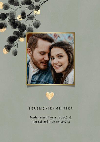 Einladungskarte Hochzeitsfeier Eukalyptus schwarz 2