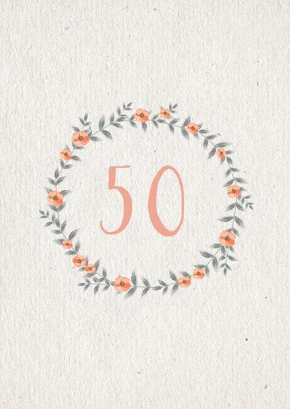 Einladungskarte Hochzeitsjubiläum Blumenkranz natürlich 2
