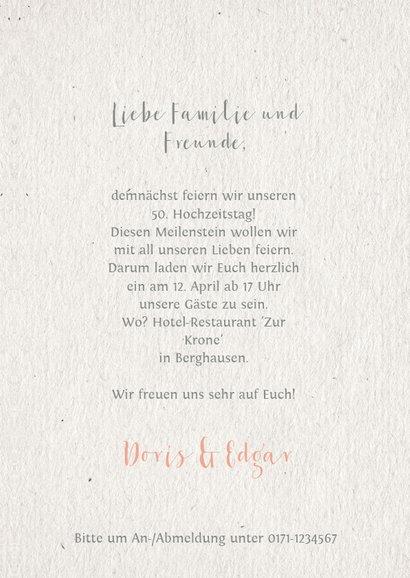 Einladungskarte Hochzeitsjubiläum Blumenkranz natürlich 3
