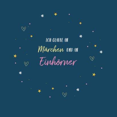 Einladungskarte Kindergeburtstag Einhorn, Herzen und Sterne 2