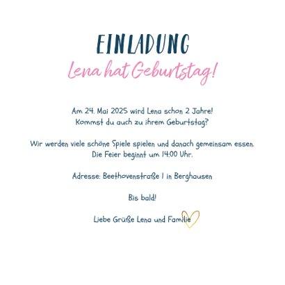 Einladungskarte Kindergeburtstag Einhorn, Herzen und Sterne 3