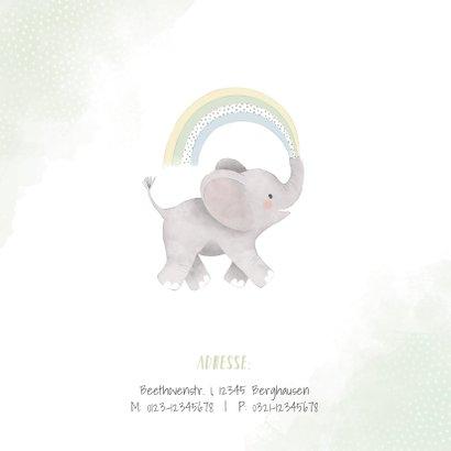 Einladungskarte Kindergeburtstag Elefant mit Regenbogen 2