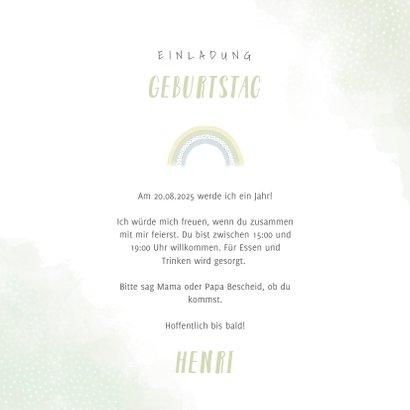 Einladungskarte Kindergeburtstag Elefant mit Regenbogen 3