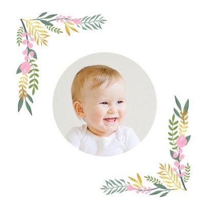 Einladungskarte Kindergeburtstag Flamingo und Zweige 2