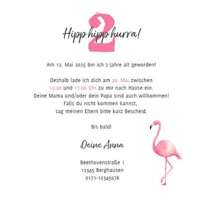 Einladungskarte Kindergeburtstag Flamingo und Zweige 3